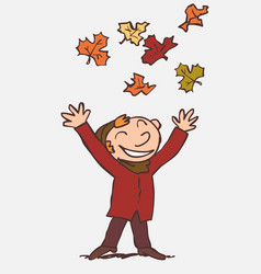 Child throwing in the air funny autumn leaves vector