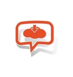 Cloud download message sticker orange vector