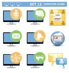 Computer Icons Set 12 vector image vector image
