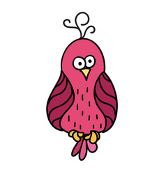 Cute cartoon pink bird with black contour parrot vector