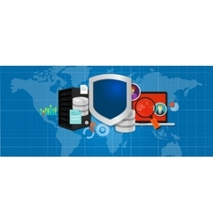 data protection database security internet shield vector image