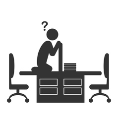 Flat office icon with disappeared worker isolated vector image