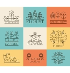 Gardening and floristry logos vector