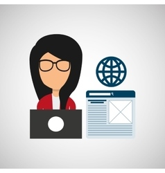 girl working icon vector image vector image