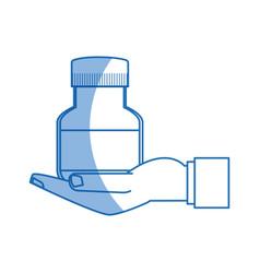 hand with bottle medicine equipment veterinary vector image vector image