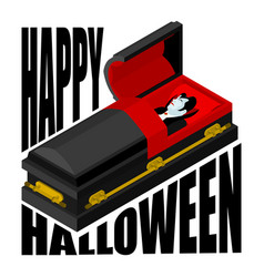 happy halloween dracula in open coffin for vector image