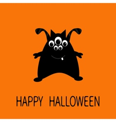 Happy Halloween greeting card Black silhouette vector image