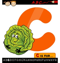 letter c with cabbage cartoon vector image