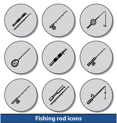 light fishing rod icons vector image vector image