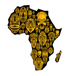 map of africa with tribal ethnic masks vector image