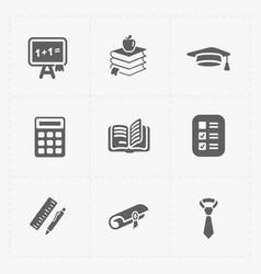 Modern flat education icons set on white vector