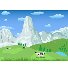 Mountain landscape and pasture vector
