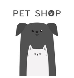 Pet shop icon dog and cat animal happy pets set vector