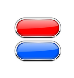 Red and blue oval buttons with metal frame vector