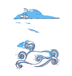 sailing ship sea nautical background vector image vector image