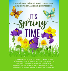Spring holiday poster of flowers bouquet vector