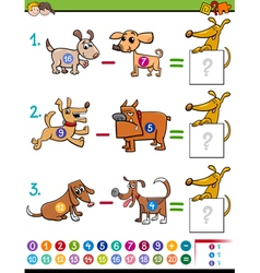 Subtraction educational activity for kids vector