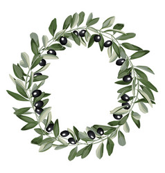 Template round frame from olive branches vector