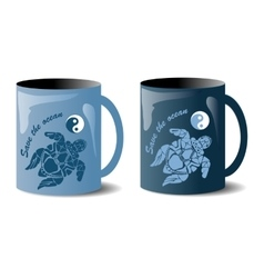 Two mugs with turtles vector