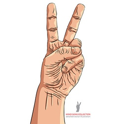Victory hand sign detailed vector image