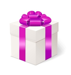 White gift box with bows and pink ribbon vector image vector image