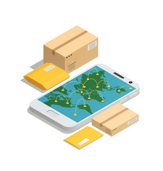 worldwide post delivery isometric composition vector image