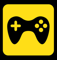 yellow black information sign - gamepad icon vector image