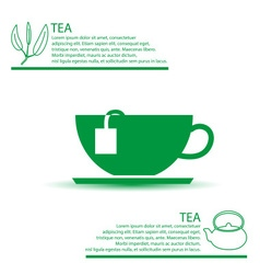 Tea cup simple green infographics theme eps10 vector