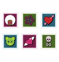 Kids emo stamps vector
