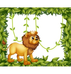 A king lion in a leafy frame vector