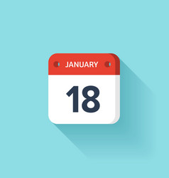 January 18 isometric calendar icon with shadow vector
