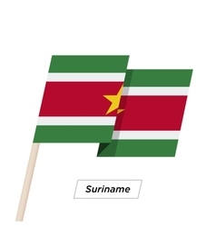 Suriname ribbon waving flag isolated on white vector