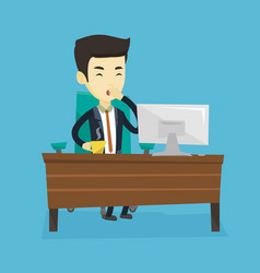 tired employee yawning in office vector image