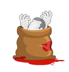 Corpse in sack with bloody puddles dissected dead vector