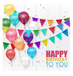 Color balloons happy birthday on white background vector