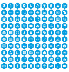 100 crime icons set blue vector