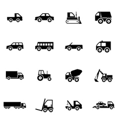 Black vehicle icons set vector
