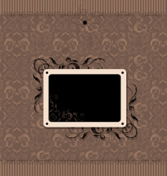 vintage frame with seamless wallpaper vector image