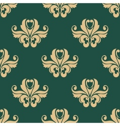 Floral seamless pattern with beige on dark green vector