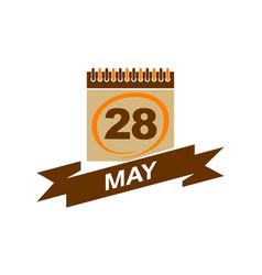 28 may calendar with ribbon vector