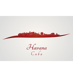 Havana skyline in red vector