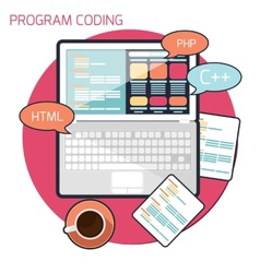 Flat design concept of program coding vector