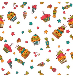 Happy birthday seamless pattern hand drawn vector