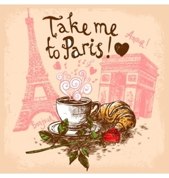 Take me to paris concept vector image