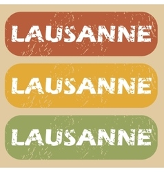 Vintage lausanne stamp set vector