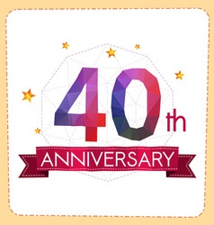 Colorful polygonal anniversary logo 2 040 vector