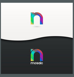 letter N logo alphabet mosaic icon set background vector image