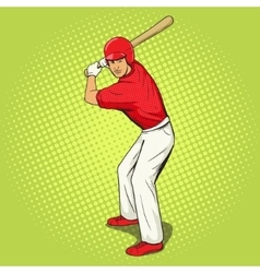 Baseball player with bat pop art style vector