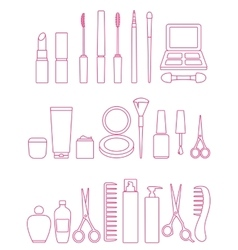 Cosmetics line icon set vector