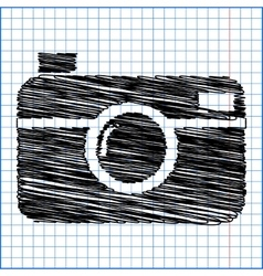 Digital photo camera icon with pen effect on paper vector
